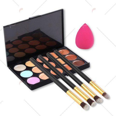 15 colours concealer palette  4 pcs makeup brushes set