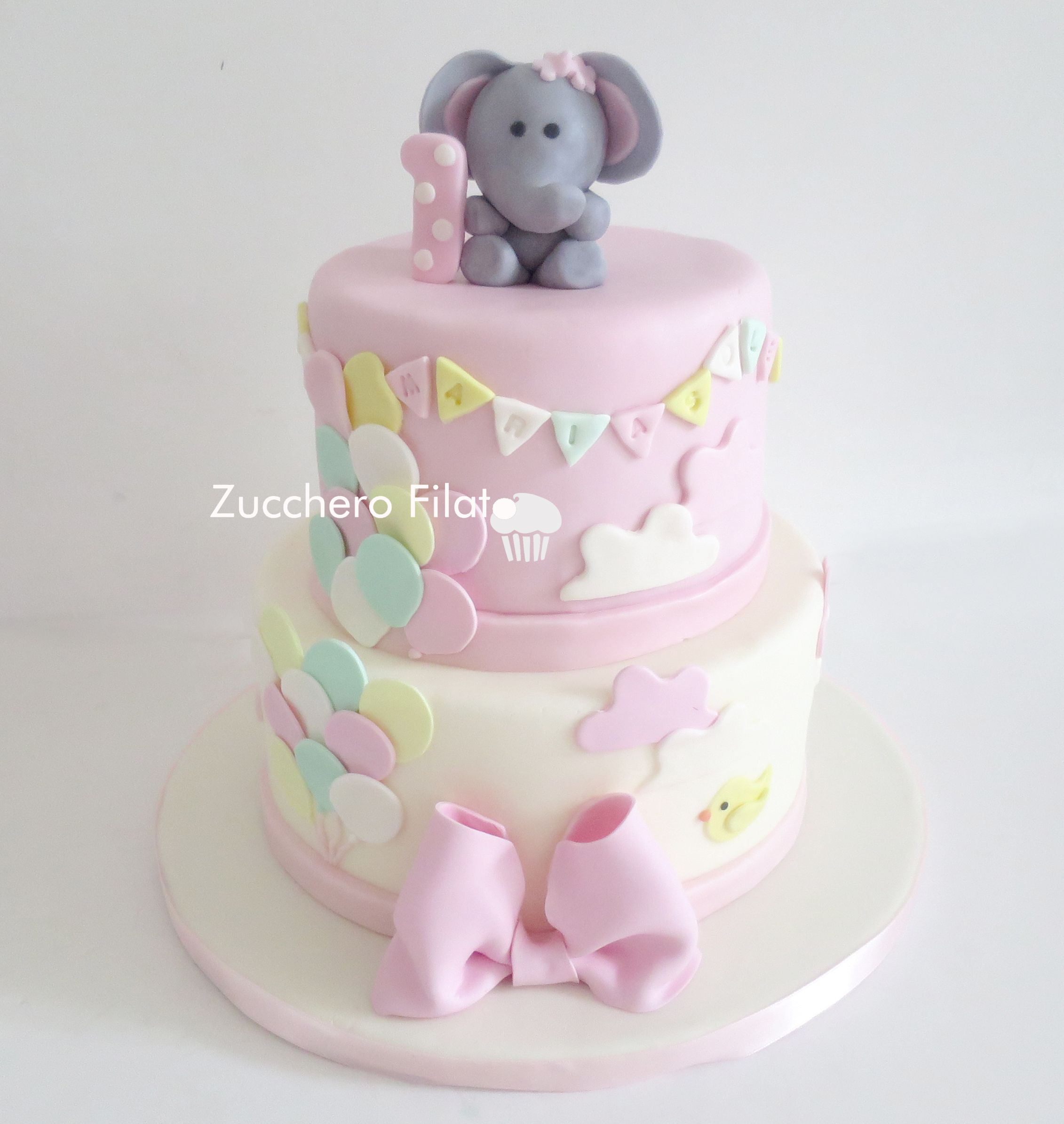 Swell Baby Elephant Cake Baby Girl First Birthday Cake Baby Girl Personalised Birthday Cards Paralily Jamesorg