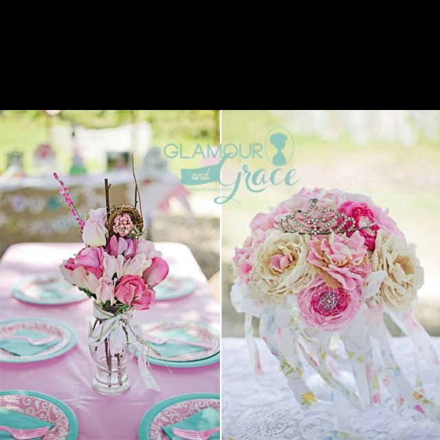 My beautiful and talented daughter who is a photographer  and operates Glamour & Grace Photography took these photos of arrangements I made for her little girl's first birthday party. They each contain vintage brooches, and either handmade fabric flowers or real-touch flowers.
