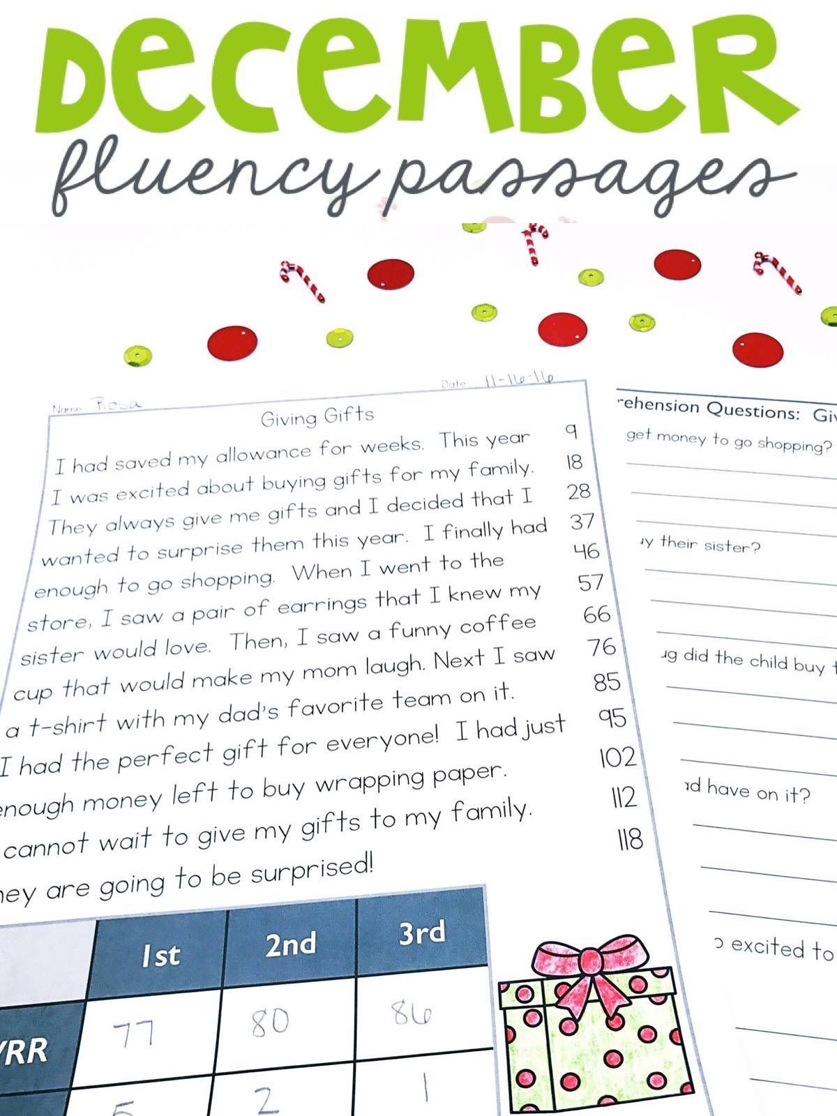 1st Grade Fluency Passages For December