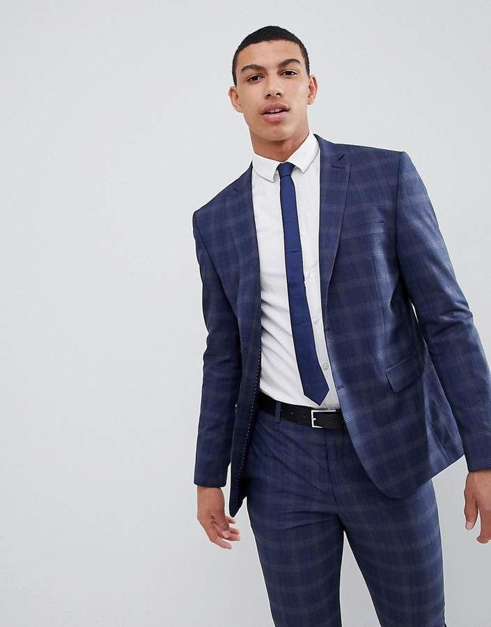 8688fd259a8ba boohooMAN Skinny Fit Suit Jacket In Navy Check   Products   Skinny ...