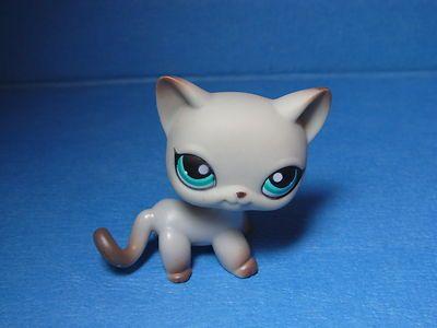 Rare Littlest Pet Shop 391 Siamese Around The World Cat Gray Grey