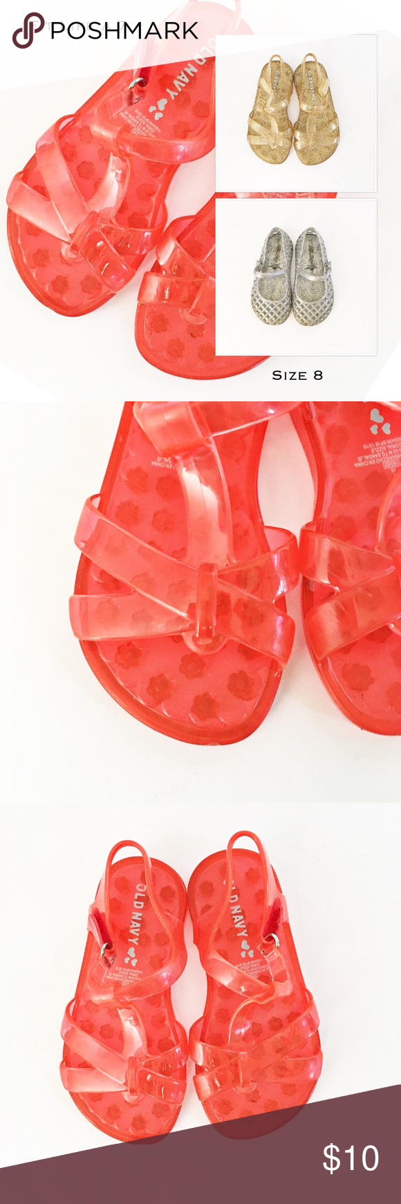 73fbef51e66f 3 Pairs of Jelly Shoes Three pair of jellies. One coral and one gold pair  of strappy jelly sandals