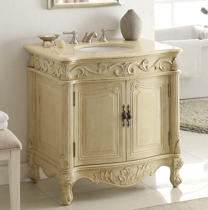 32 Inch Adelina Antique Pastel Finish Bathroom Vanity Bathroom