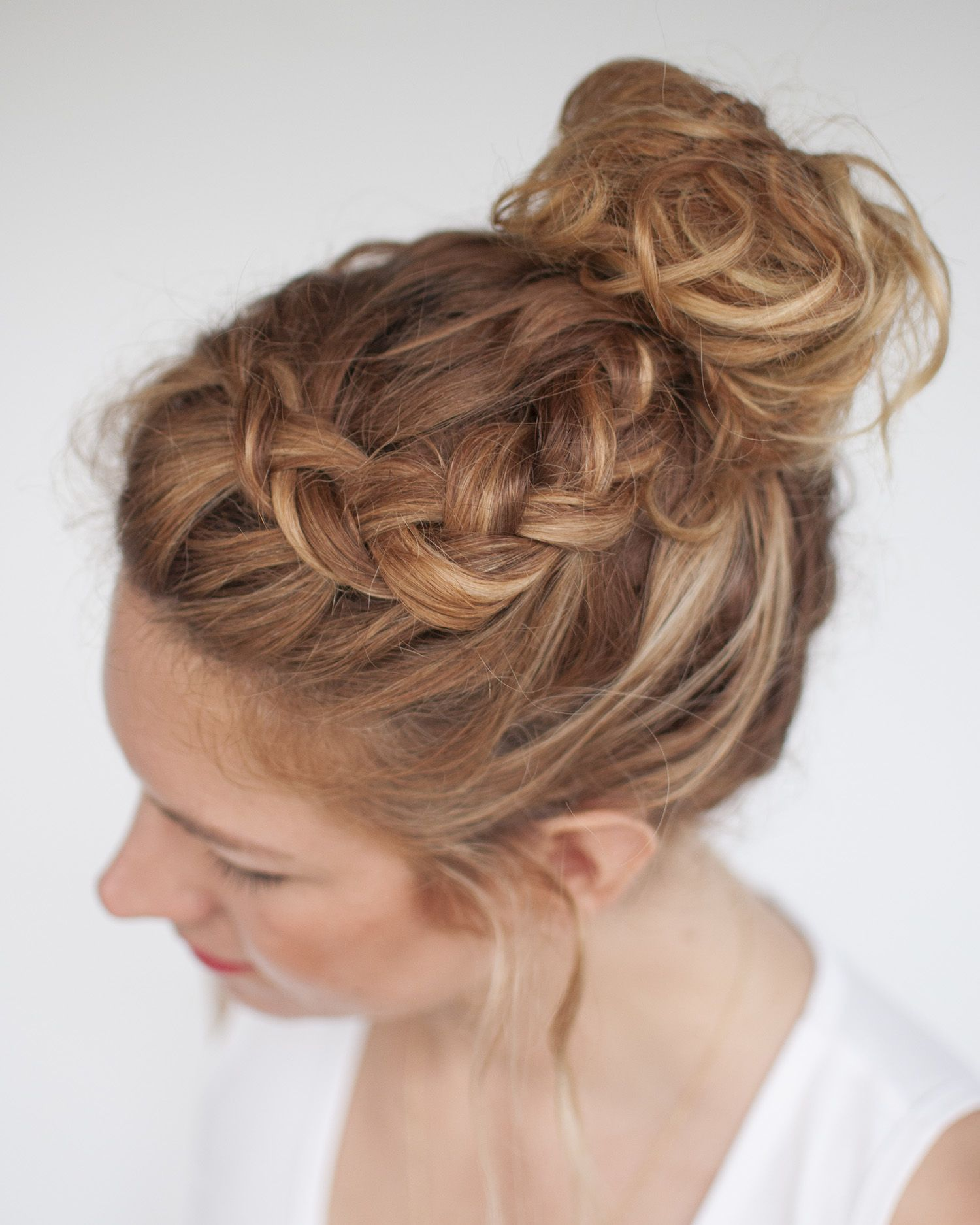 For those days when you want to throw all your hair up in a topknot a quick braid at the front adds in a pretty detail. Plus it hides the fact you should have washed your hair haha xx