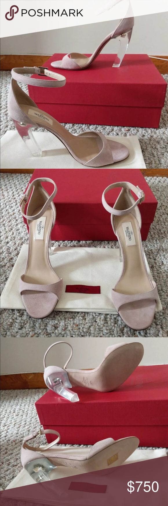 a926a63e4d63 Valentino Women s Acrylic-Glass-Heel Suede Sandals Brand new with box  Valentino Shoes Sandals