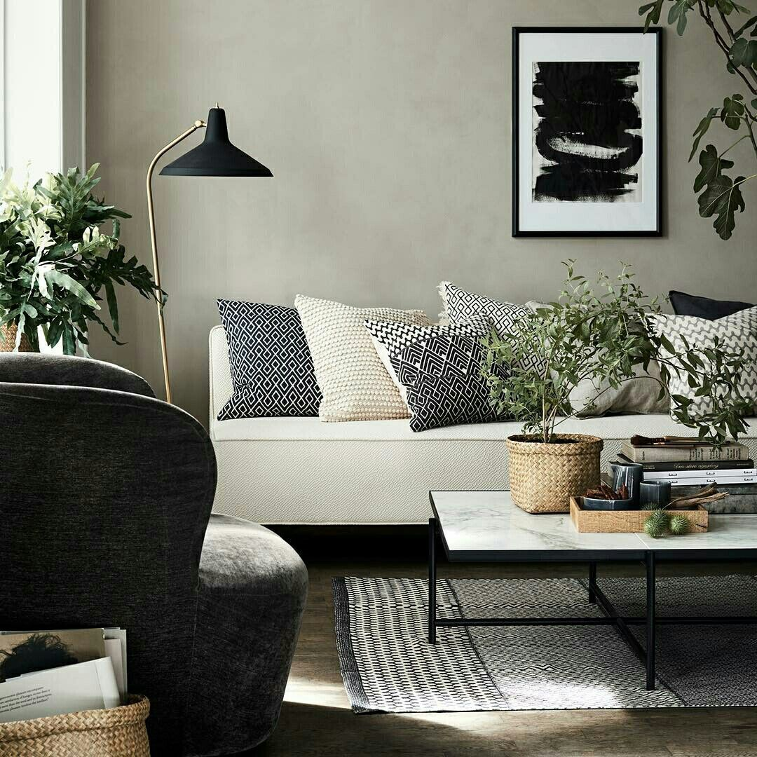 Black White And Off White Living Room Colors Calming Simple