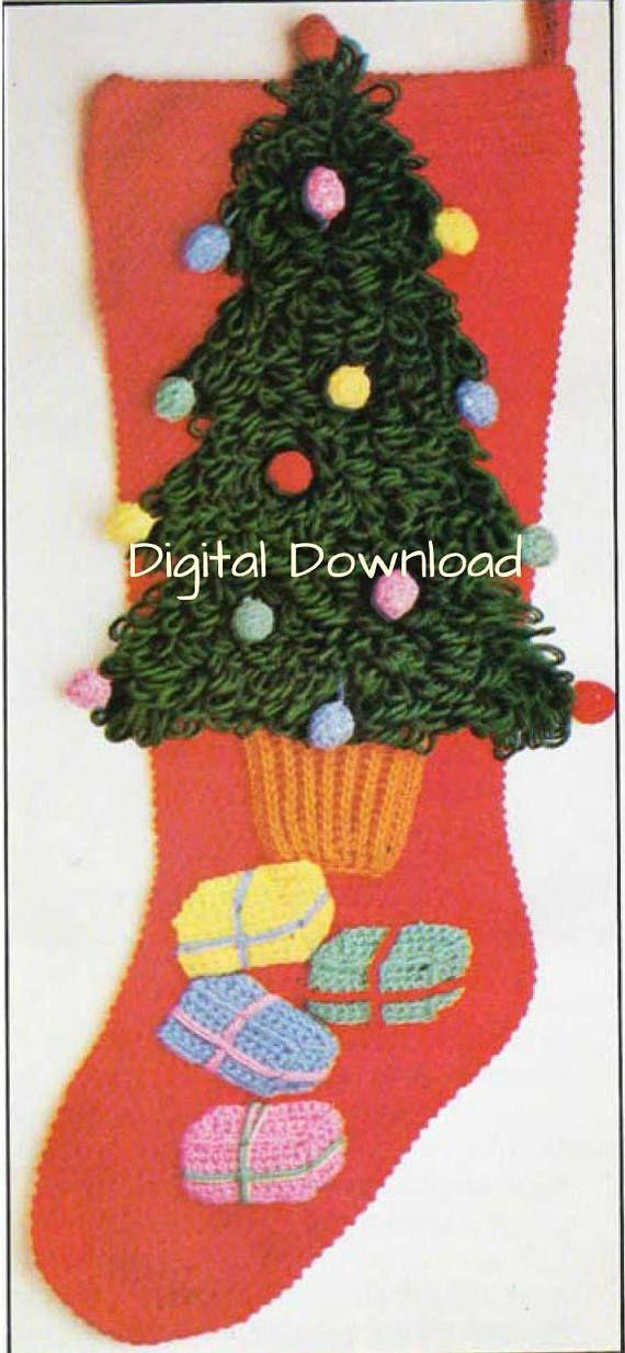 Christmas Tree Crochet Christmas Stocking Pattern Vintage ...
