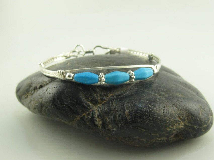 WSB-0222 Handmade Blue Chalk Turquoise Bangle Bracelet Wire Wrapped with Argentium Sterling Silver Wire by inspiredcreationsco on Etsy