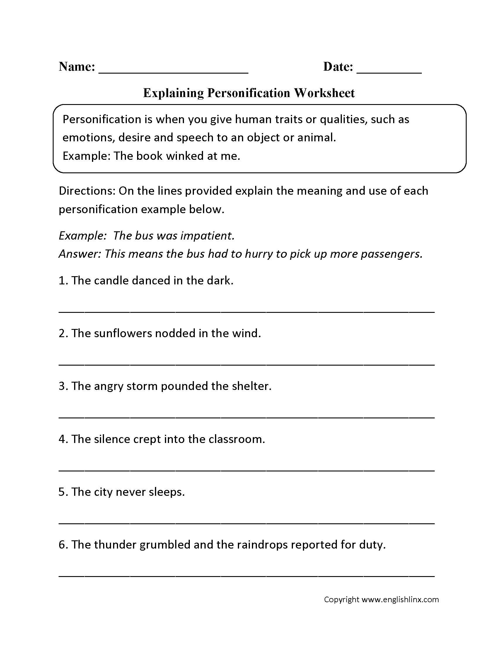 Poetic Devices Worksheet 1 Answers - worksheet