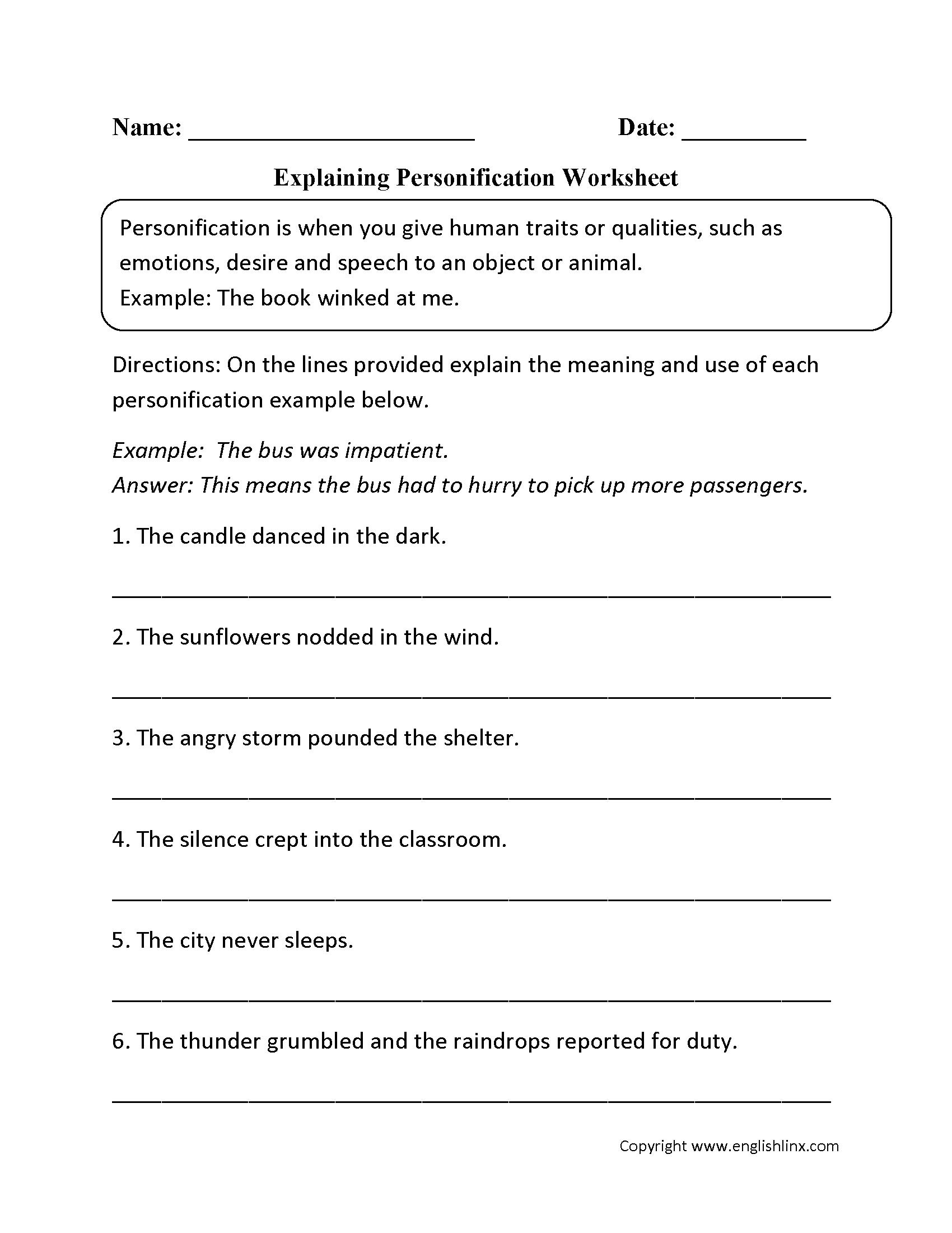 Worksheets Hyperbole Worksheet explaining personification worksheet 3rd grade pinterest students worksheet