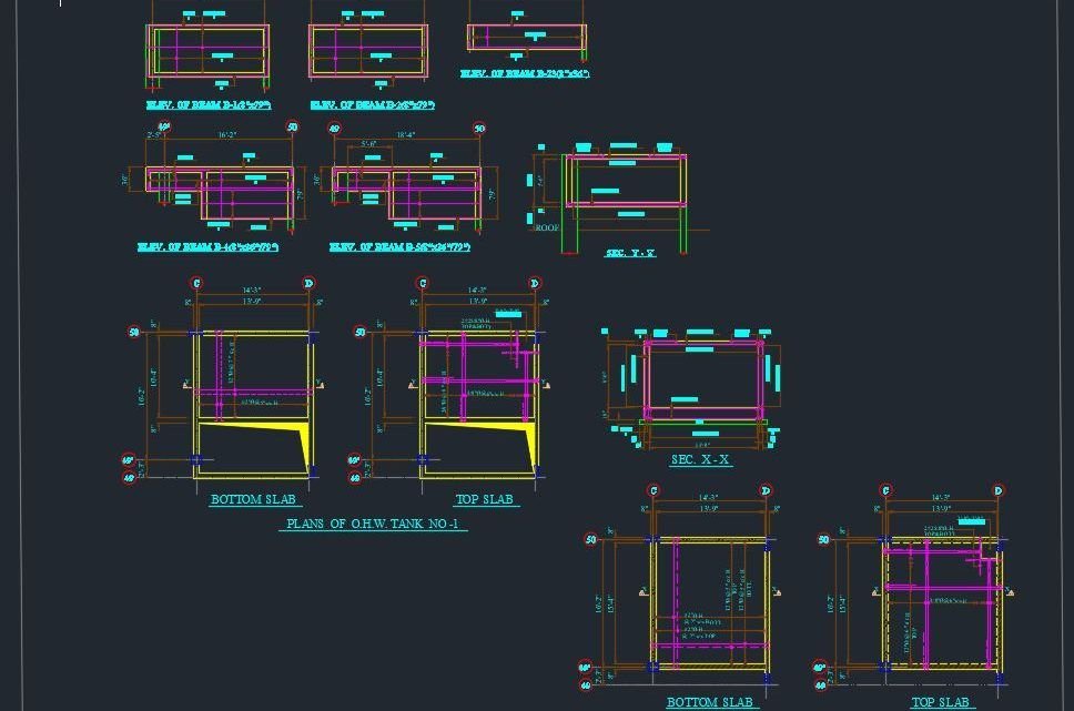 Top And Bottom Tank Slab Details Autocad Free Drawing Autocad Free Autocad Autocad Drawing
