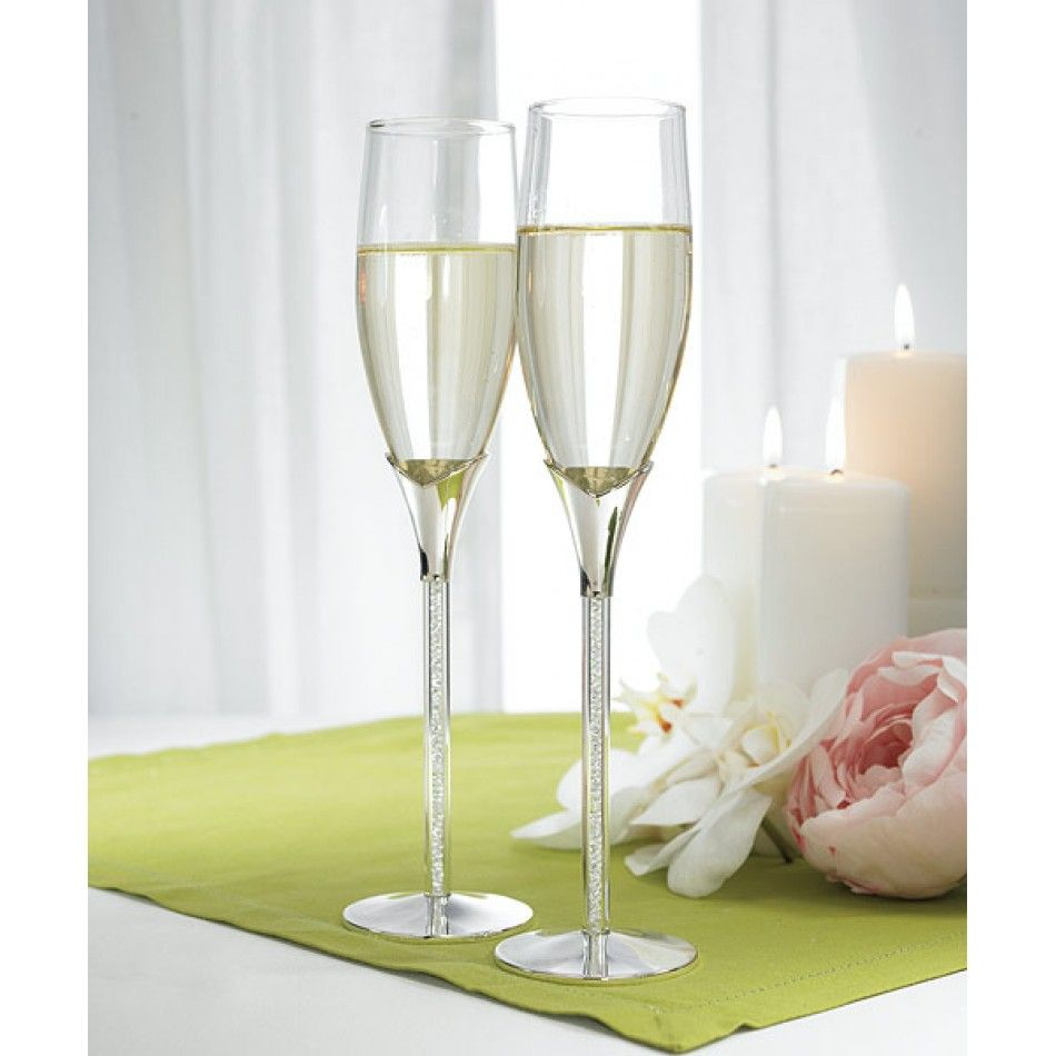 Transparent Stem with Enclosed Crystal Stones Champagne Flutes ...