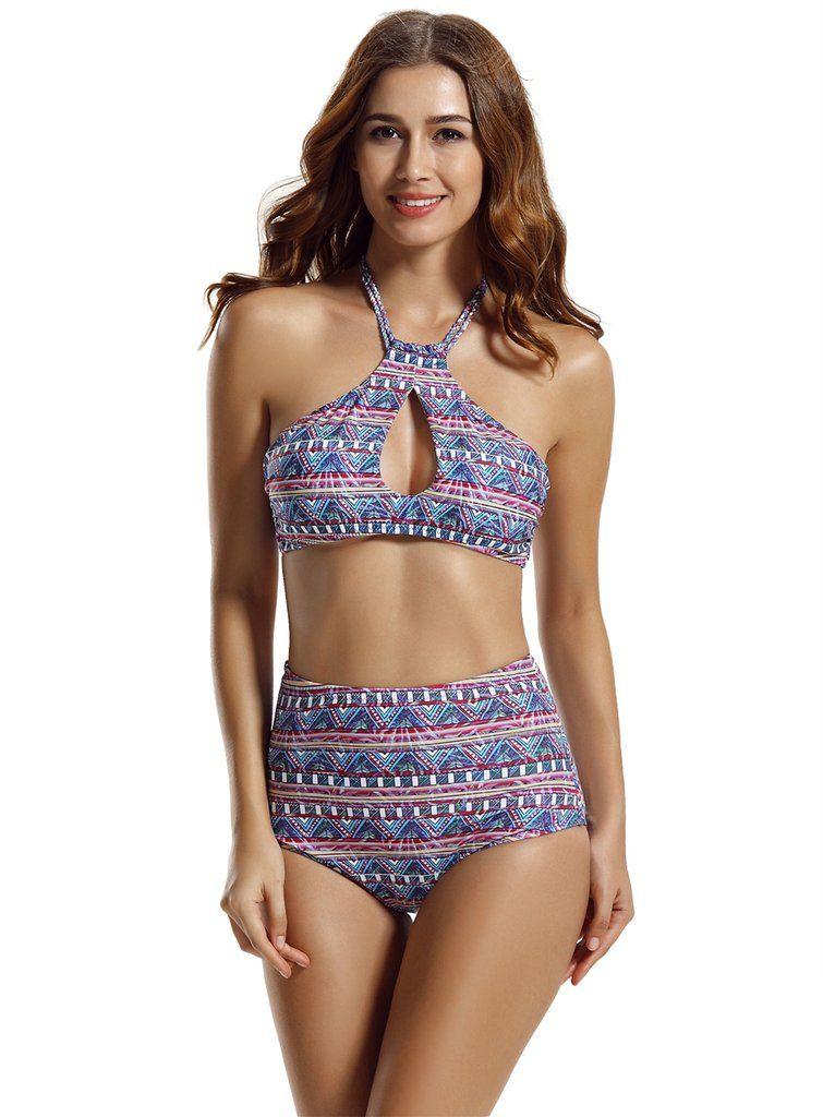 a12654b15d Women's High Neck Halter Top High Waisted Bikini Bathing Suits ...