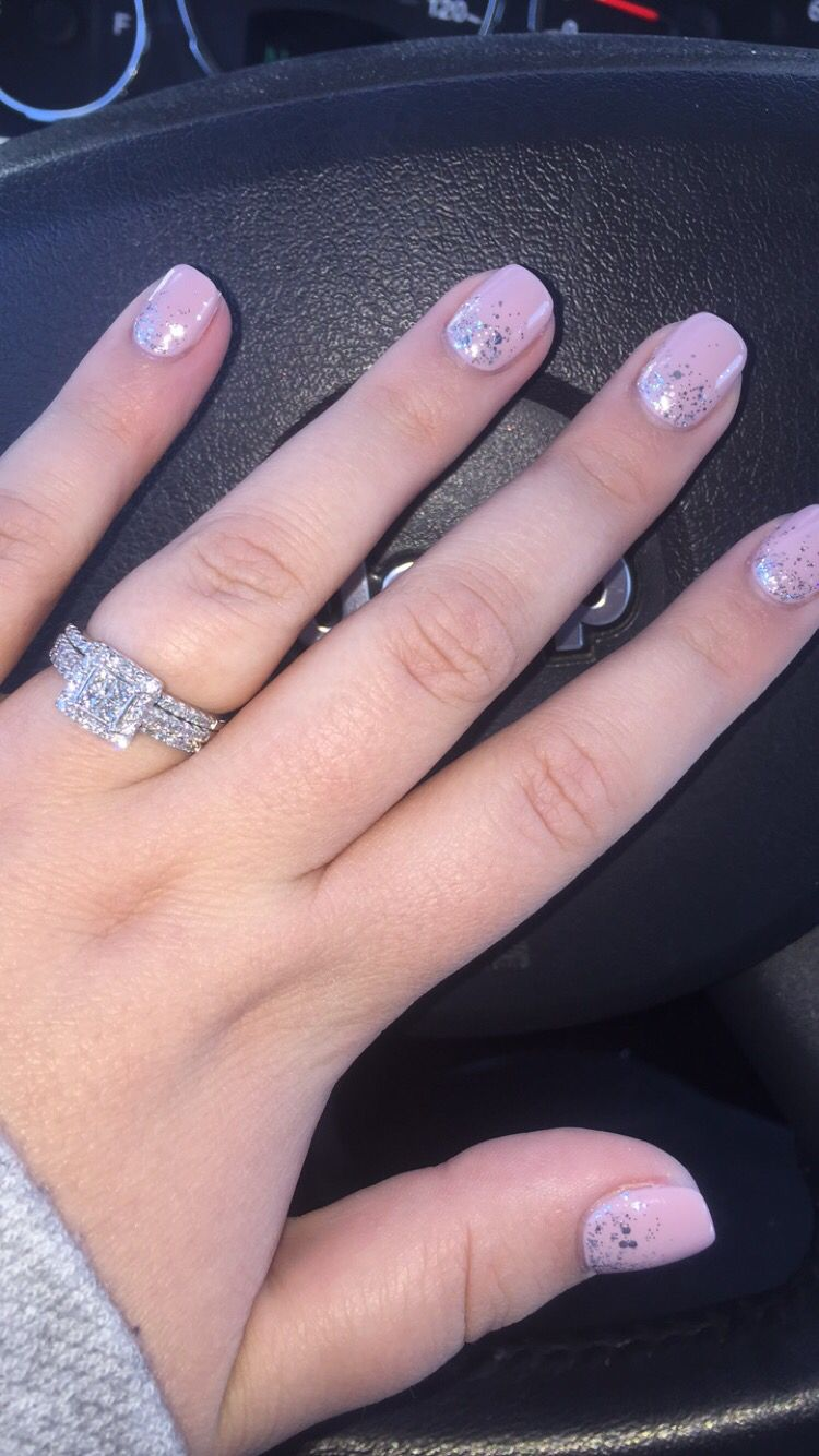Ombre Silver Glitter Pink Wedding Set Diamonds Engagement Ring Gel
