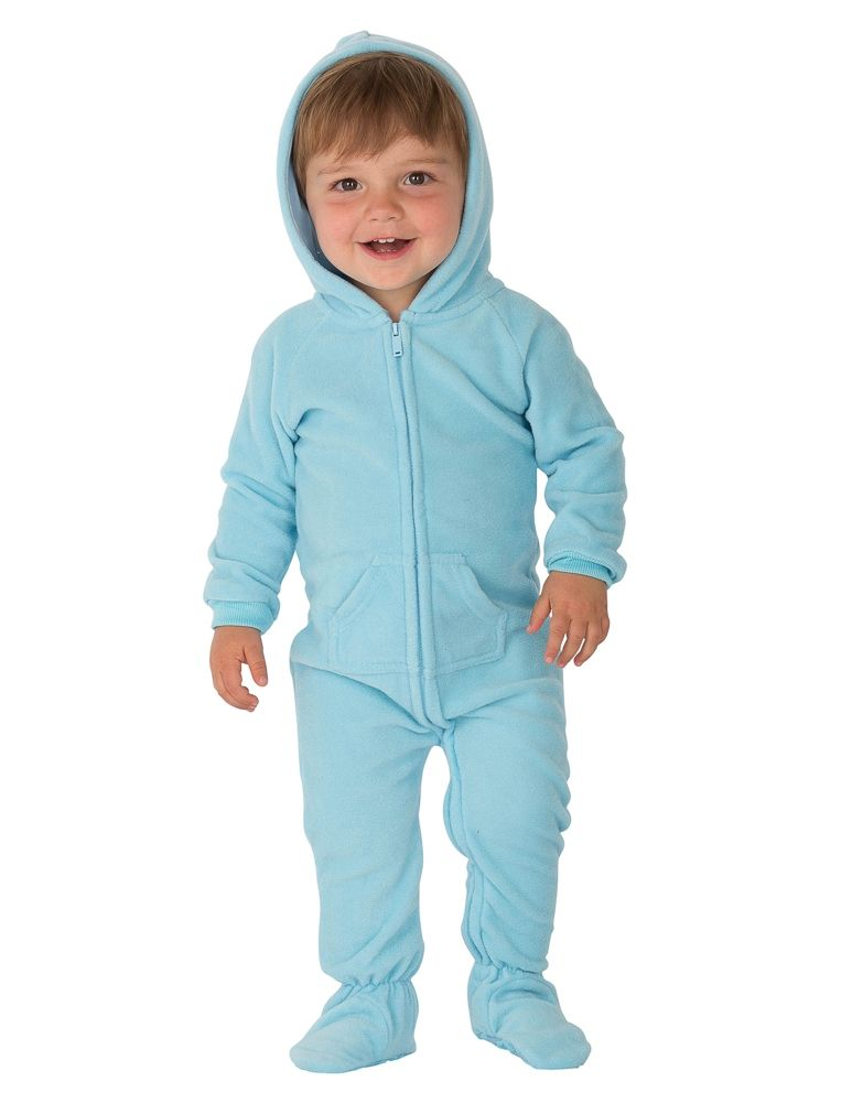 4aeb323fc4a5 Baby Blue Hoodie One Piece - Infant Hooded Footed Pajamas