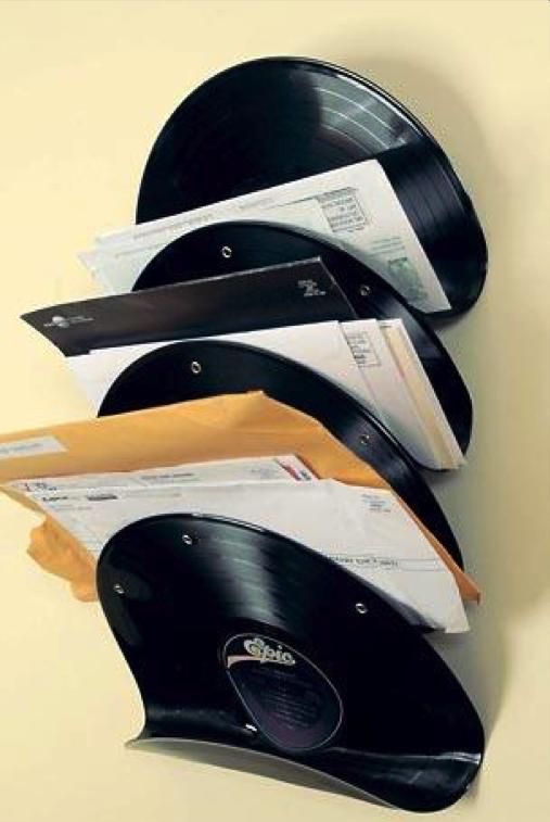 Diy Mail Sorter From Vinyl Records Diy Vinyl Record Crafts Diy Arts And Crafts