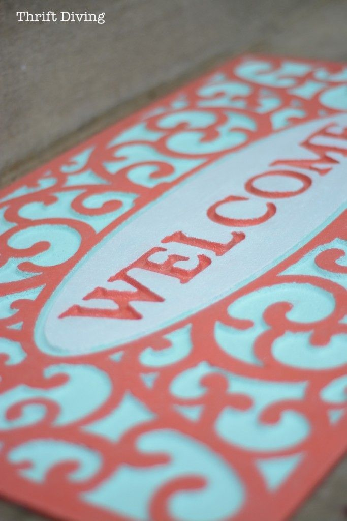 My Pretty Custom Welcome Mat Makeover With Spray Paint Diy Mailbox Welcome Mats Home Diy