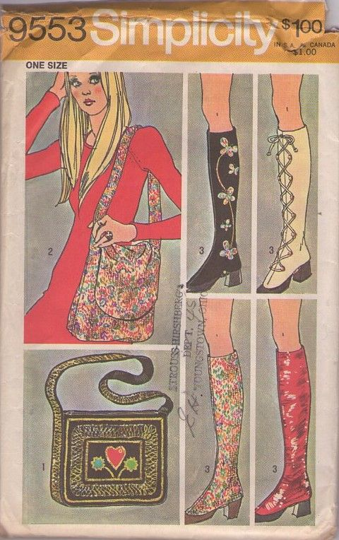 MOMSPatterns Vintage Sewing Patterns - Simplicity 9553 Vintage 70's Sewing Pattern The COOLEST Hippie Bohemian Boot Covers, Spats & Two Messenger Bag, Tote Purse, Pocketbooks