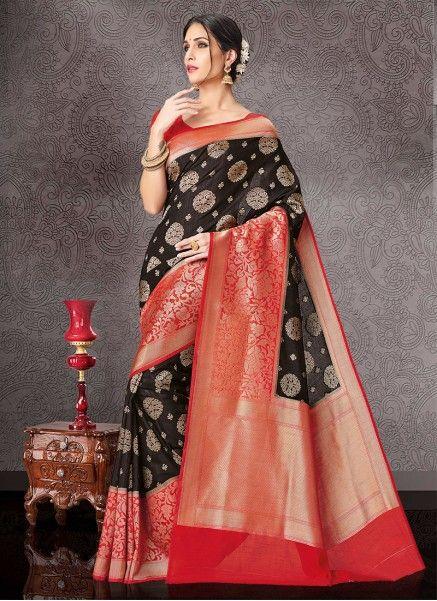 23848074fb Meghdoot Black and Red Colour Kanchipuram Spun Silk Woven Saree  VINDHYA_2518B_BLACKxRED