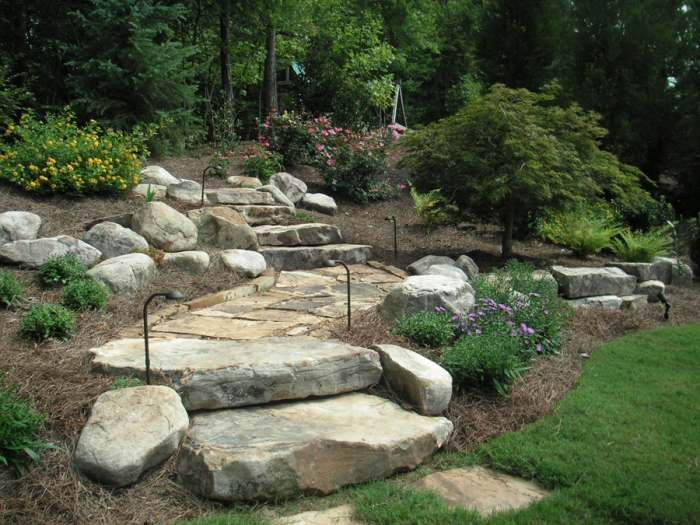 Landscaping Ideas · A Boulder Wall, Landscape Steps, Stone Edging On A  Short Landing Of Flagstone Walkway