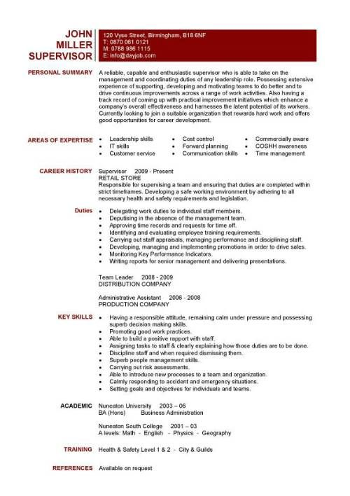 A one page supervisors resume example that clearly lists the team - skill for resume