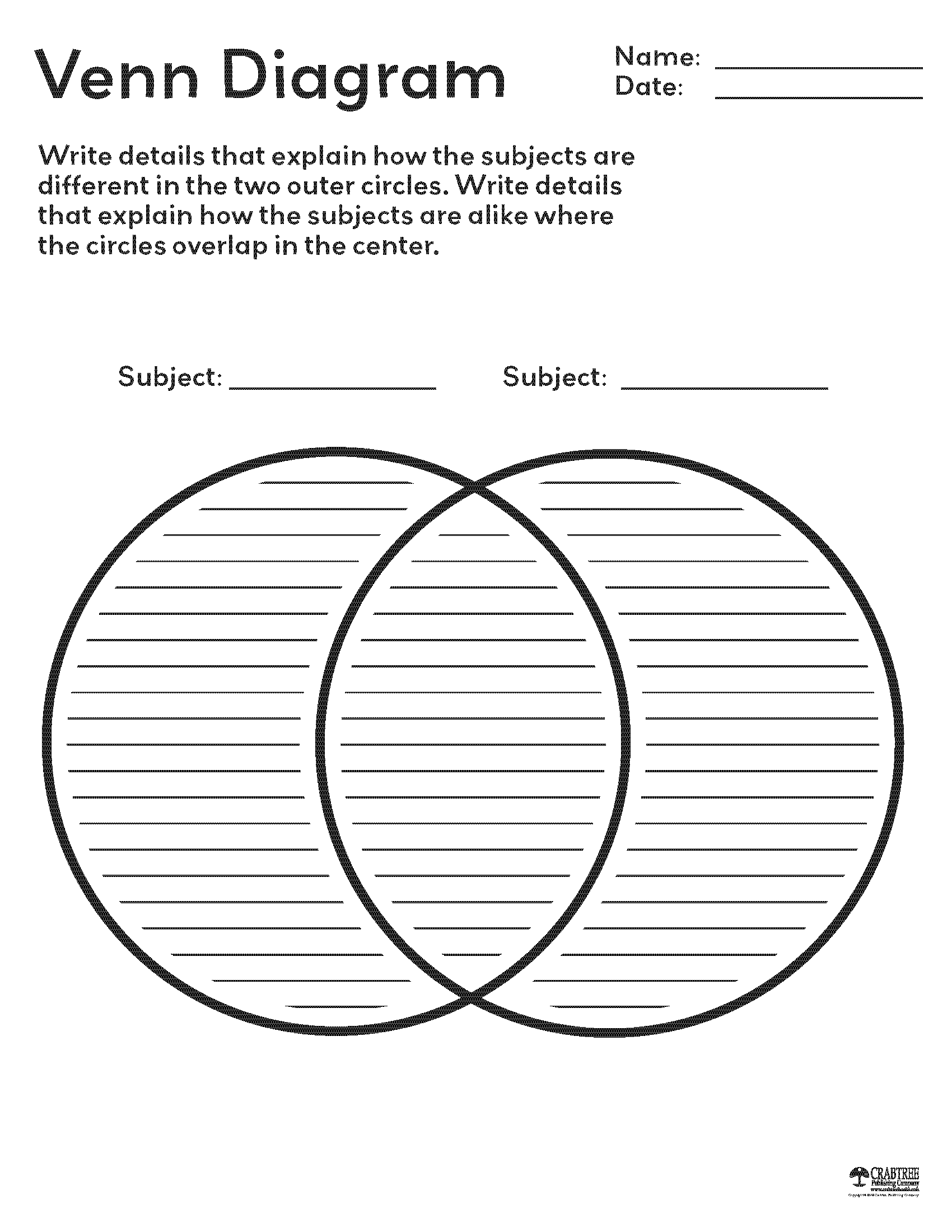 Free printable Venn Diagram from Crabtree Publishing | Educational ...