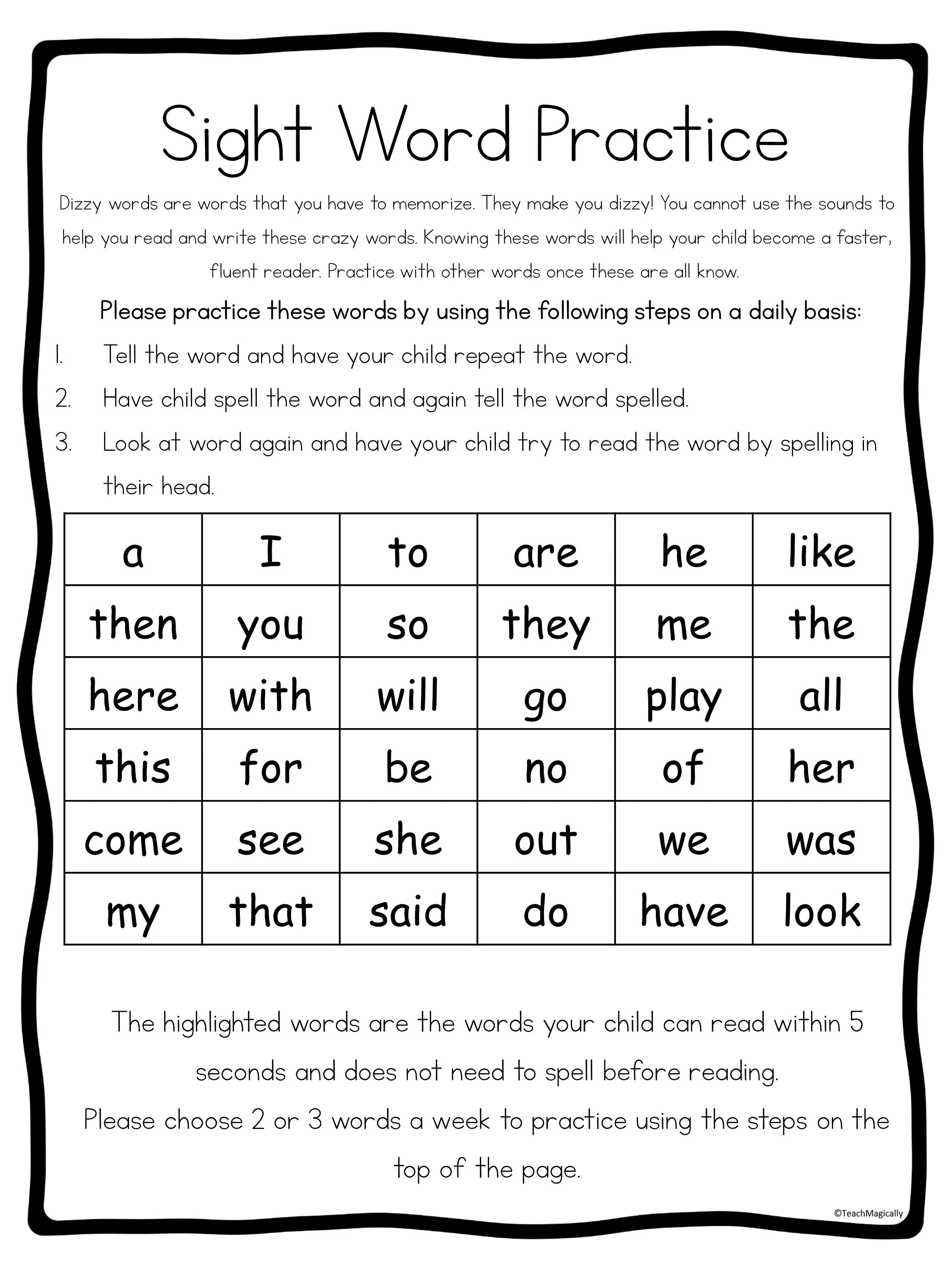 Dizzy Sight Word Practice Family Note