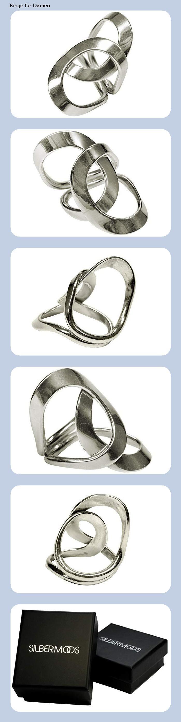 SILBERMOOS XL Ring Damen Verlobung Breit Dreierring 925 Sterling Silber