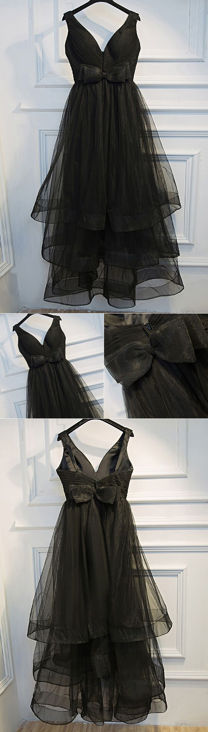 Super cute long black prom dress vneck with tiered tulle myx