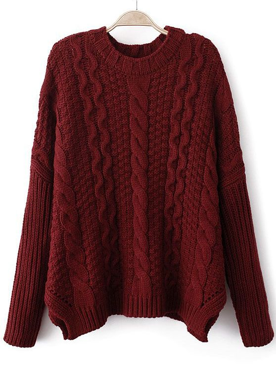burgundy oversized cable knit sweater