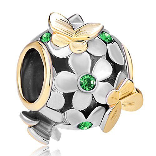 Pugster 22K Gold Plated Crystal Flower Golden Butterfly Charm Bead Fits Pandora Charms Bracelet
