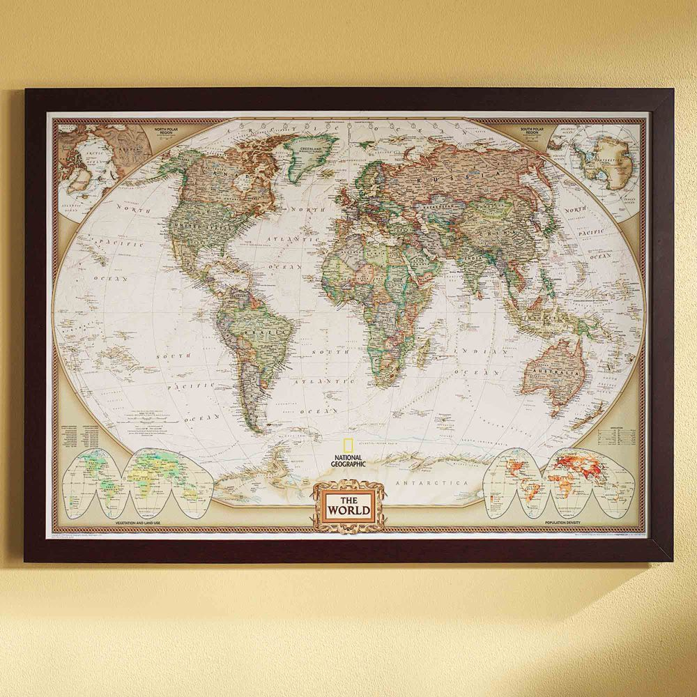 world political map earth toned poster size and framed on laminated wall maps id=82926