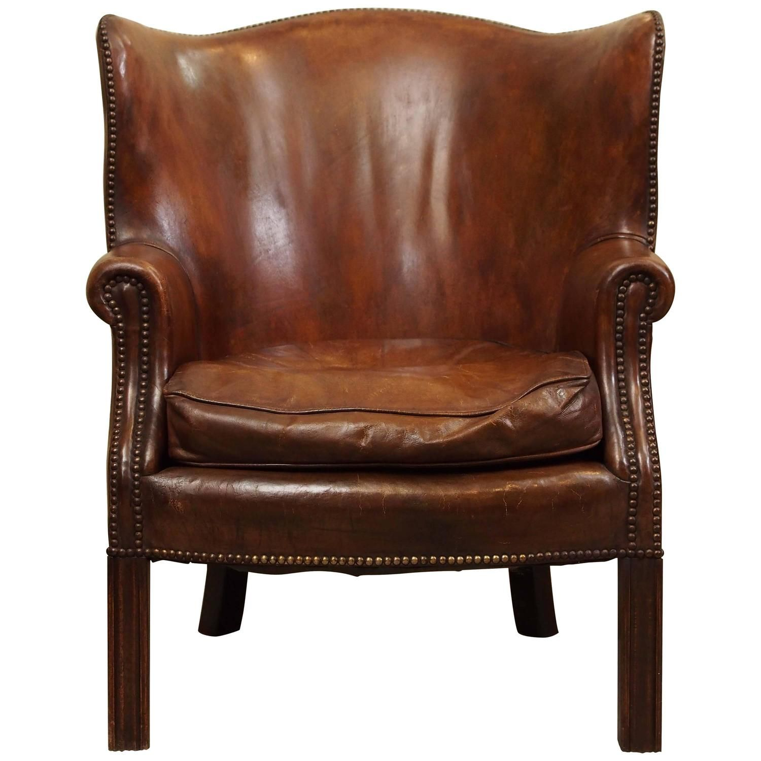 antique english mahogany leather library chair | english, modern