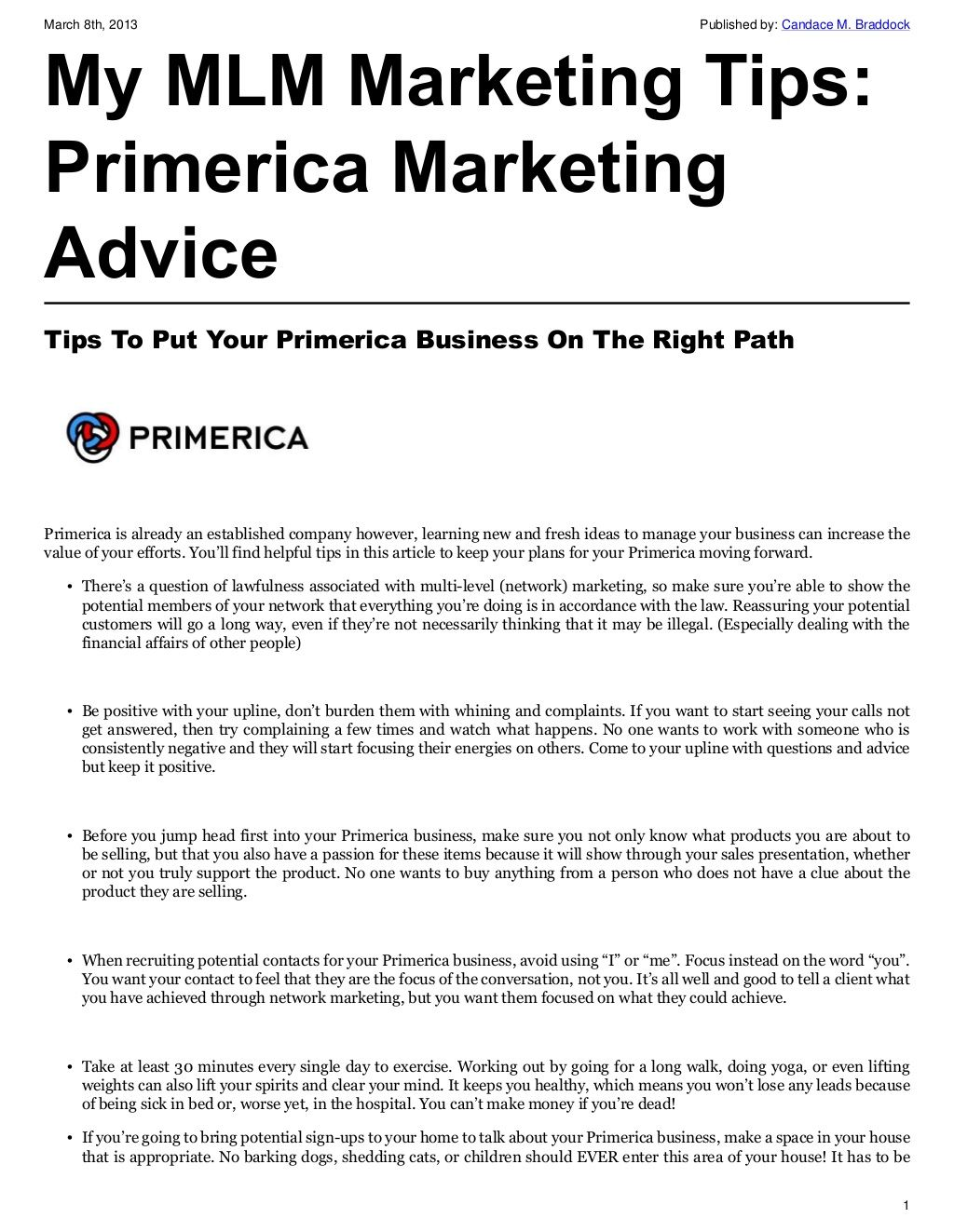 Tips To Put Your Primerica Business On The Right Path Mlm Marketing Financial Tips Marketing Advice
