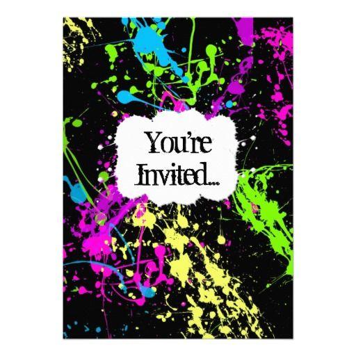 Fresh Retro Neon Paint Splatter Party Invitation Neon painting - fresh birthday party invitation designs