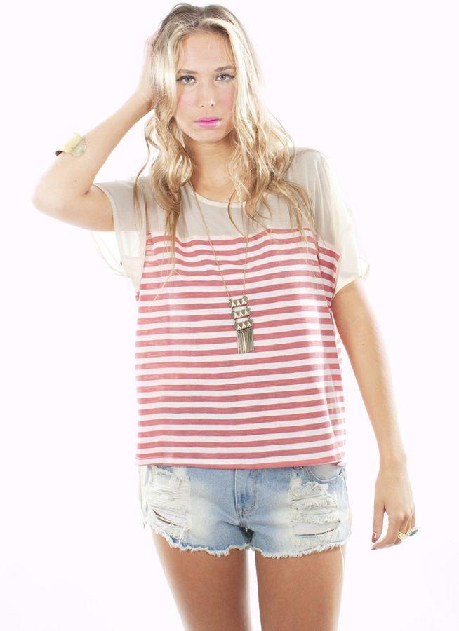 Stripe Me Coral Top