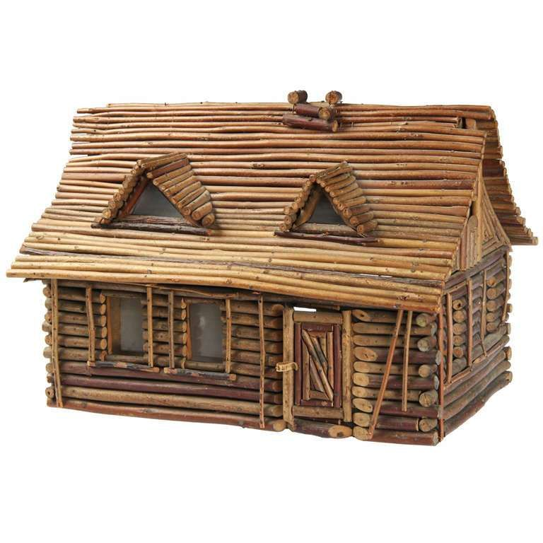 "Folk Art Twig "" Log Cabin"" Home"