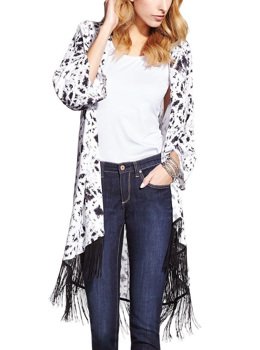Kimono imprimé avec franges $28