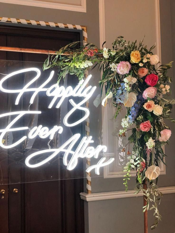 Acrylic & Neon Wedding Sign on Copper Frame by The Word is