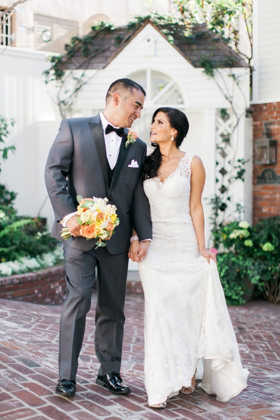 5ddf75c4c192 Gorgeous Laguna Beach wedding with intricate lace back wedding dress by  Maggie Sottero.