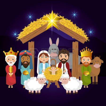 nacimiento Dibujos animados feliz navidad ilustracin vectorial
