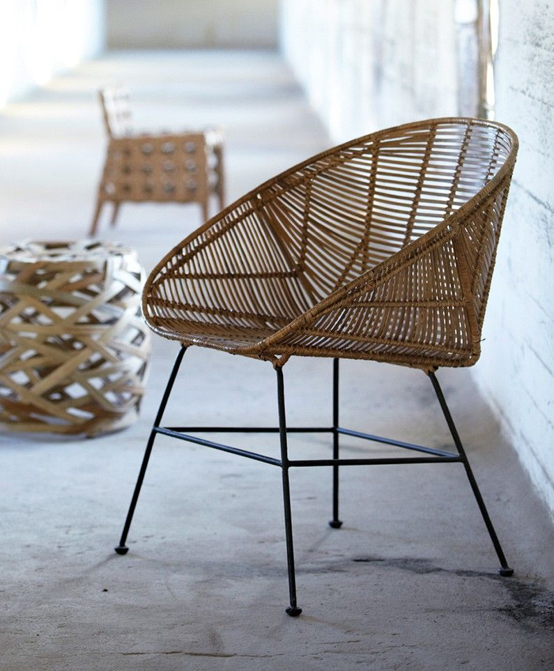 Retro Kuipstoel Hand Woven Natural Rattan Chair - Joseph Chair The Olive