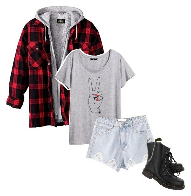 """""""Aye"""" by flxvescent ❤ liked on Polyvore featuring H&M, Chicnova Fashion, Dr. Martens, plaid and august302014"""