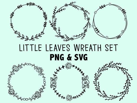 Photo of LITTLE LEAVES WREATHS, hand-drawn wreaths, doodle clipart, rustic, drawn wreaths, png, svg, vector wreaths, wedding, laurels, cute wreaths