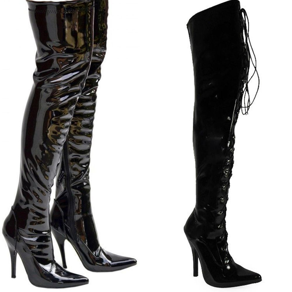 cf4d6381f246 Ladies Mens Drag Queen Crossdresser Over Knee High Thigh High Boots Large  Size