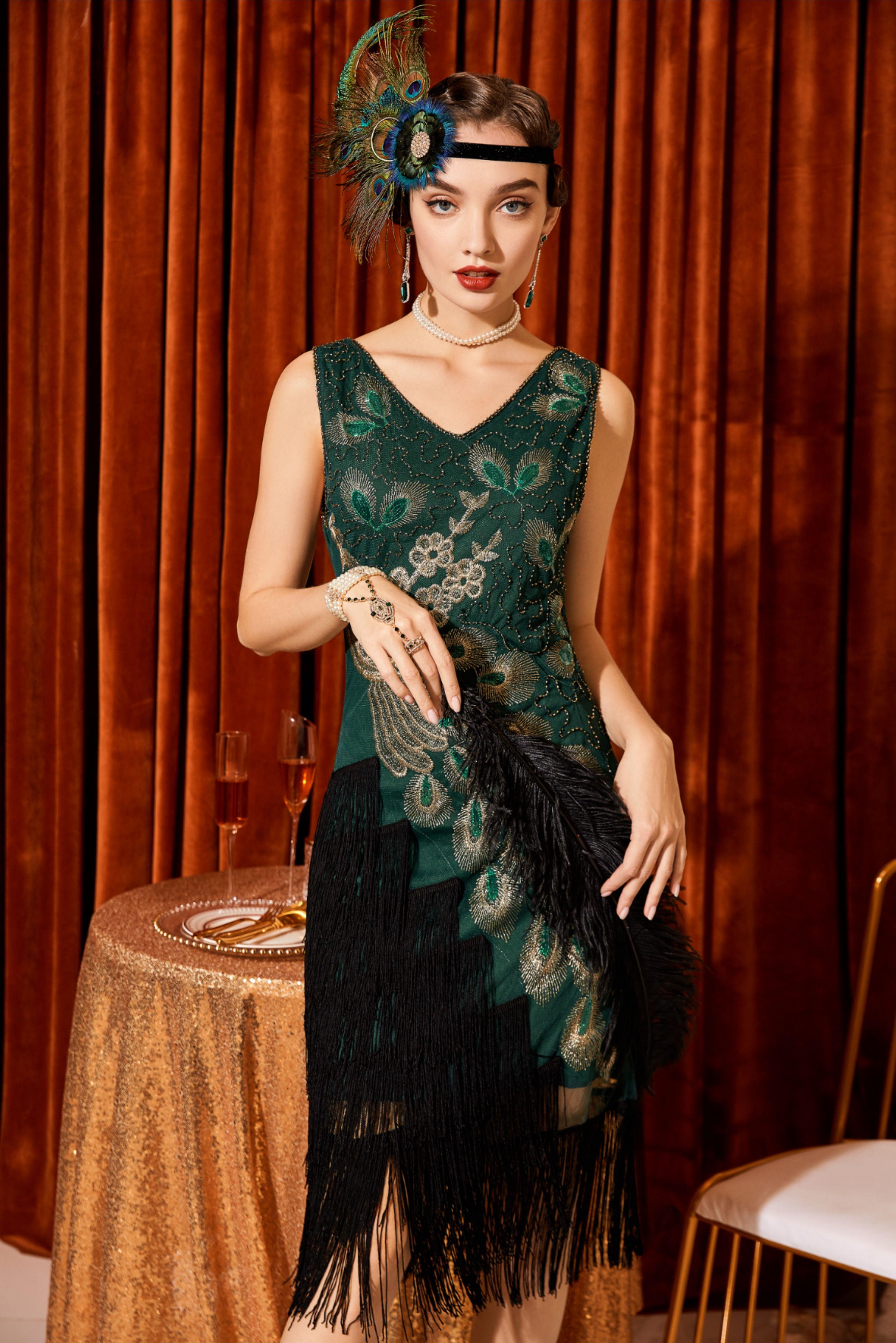 Babeyond 1920s V Neck Fringed Dress Dark Green Roaring 20s Party Dress Flapper Dress Fringe Flapper Dress [ 4499 x 3000 Pixel ]