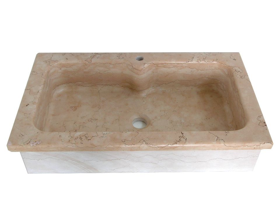 Lavello cucina a incasso soprapiano in marmo Rosa Asiago, una vasca ...