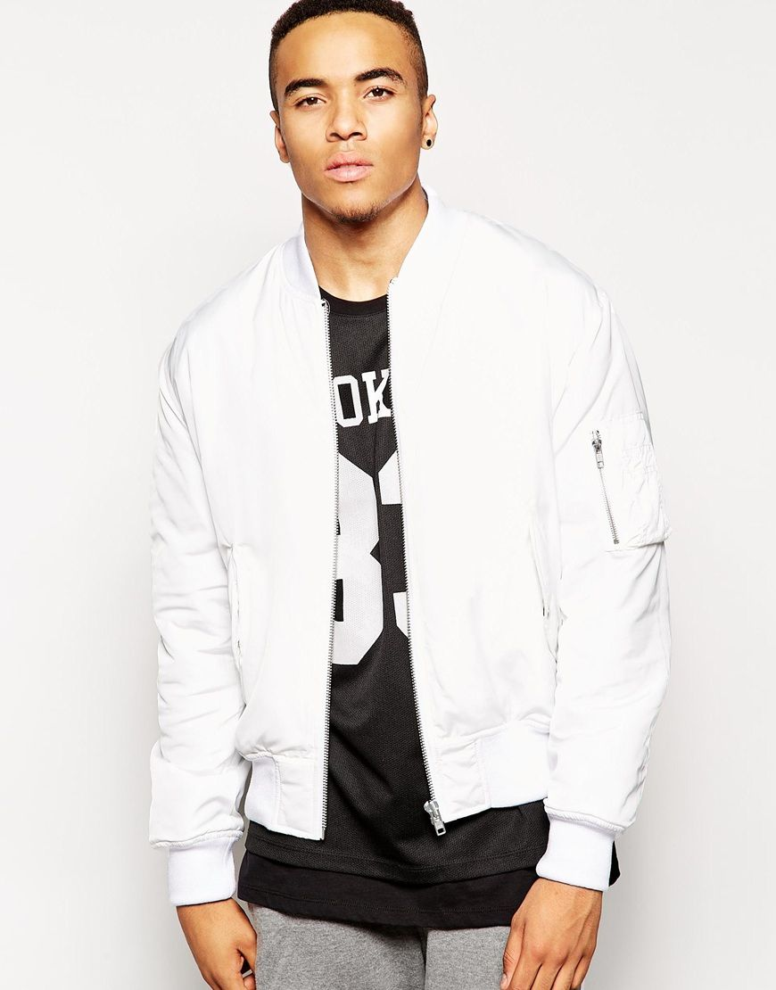 Bomber Jacket With MA1 Pocket In White | Models, Ribs and Jackets
