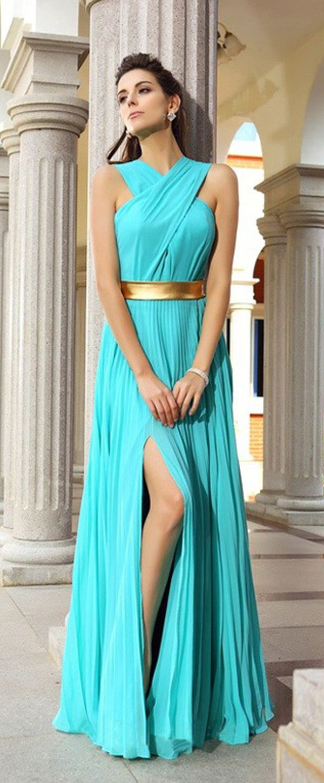 Marvelous Chiffon Halter Neckline Floor-length Sheath Prom Dresses ...